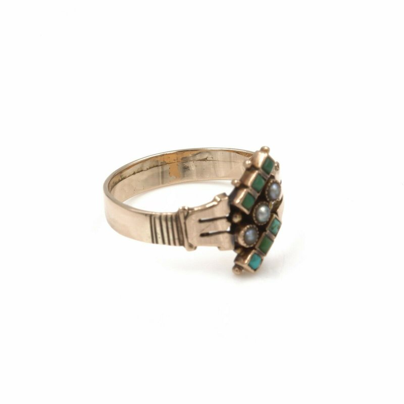 National Rarities 10K SOLID GOLD SEED PEARL & TURQUOISE VINTAGE ART DECO RING SIZE 7.25 #990B-1