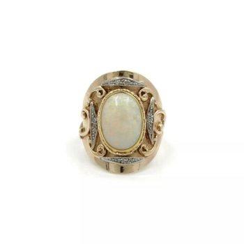 14K YELLOW GOLD DORIS CLIFF OPAL CABOCHON ROSE CUT DIAMOND RING SIZE 5.75 #J5-4