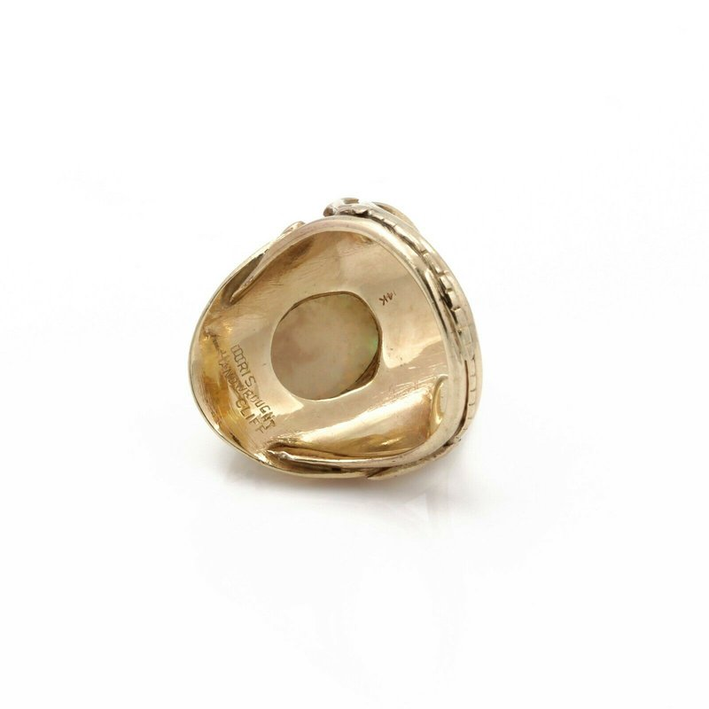 Doris Cliff 14K YELLOW GOLD DORIS CLIFF OPAL CABOCHON ROSE CUT DIAMOND RING SIZE 5.75 #J5-4