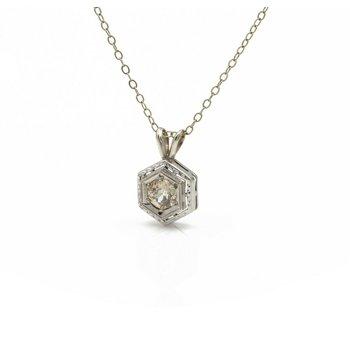 14K WHITE GOLD ART DECO OLD EURO CUT DIAMOND HEXAGON NECKLACE 0.47 CTW 1081B-4