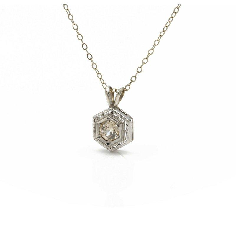 National Rarities 14K WHITE GOLD ART DECO OLD EURO CUT DIAMOND HEXAGON NECKLACE 0.47 CTW 1081B-4