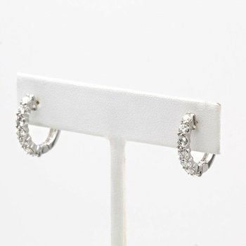 18K SPARKLING WHITE GOLD DIAMOND HINGED HOOP EARRINGS FINE JEWELRY #1025B-5