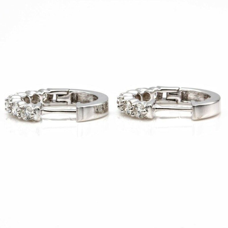 National Rarities 10K WHITE GOLD HINGED HOOP ROUND BRILLIANT CUT DIAMOND EARRINGS 0.98CTW #1025B-5