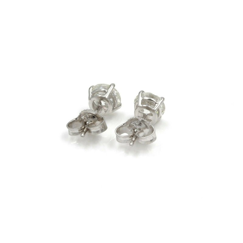 Unbranded 14K WHITE GOLD ROUND BRILLIANT CUT DIAMOND STUD EARRINGS 1.50 CTW PIERCE 1086B-5