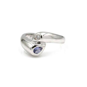 14K WHITE GOLD .26 CTW ROUND DIAMOND PEAR TANZANITE CONTEMPORARY RING #1020B-6
