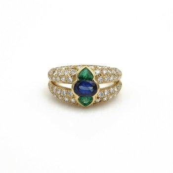 EXOTIC SAPPHIRE, EMERALD, & PAVE' DIAMOND 18K GOLD RING,SIZE 6.5 - 3.15 CTW E-80