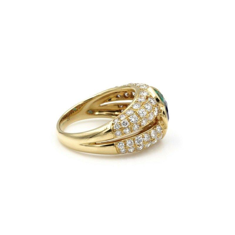 National Rarities EXOTIC SAPPHIRE, EMERALD, & PAVE' DIAMOND 18K GOLD RING,SIZE 6.5 - 3.15 CTW E-80