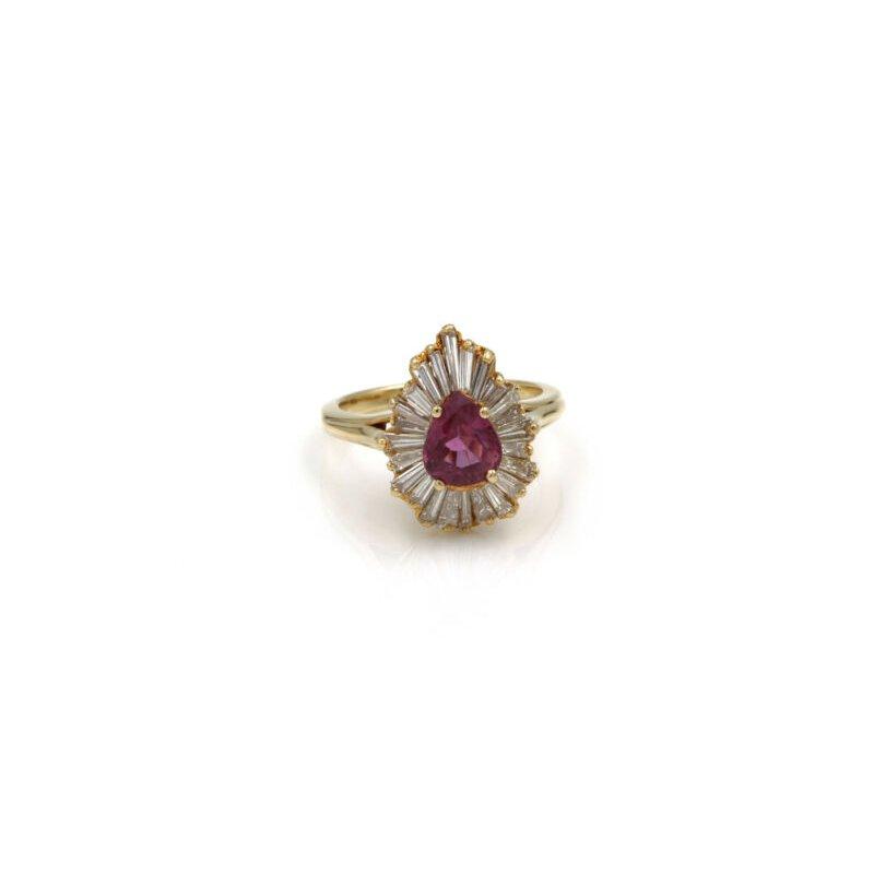 National Rarities 18K SOLID GOLD 2.91 CTW PINK SAPPHIRE & DIAMOND BALLERINA RING SIZE 5 #E-299