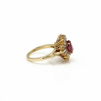 18K SOLID GOLD 2.91 CTW PINK SAPPHIRE & DIAMOND BALLERINA RING SIZE 5 #E-299