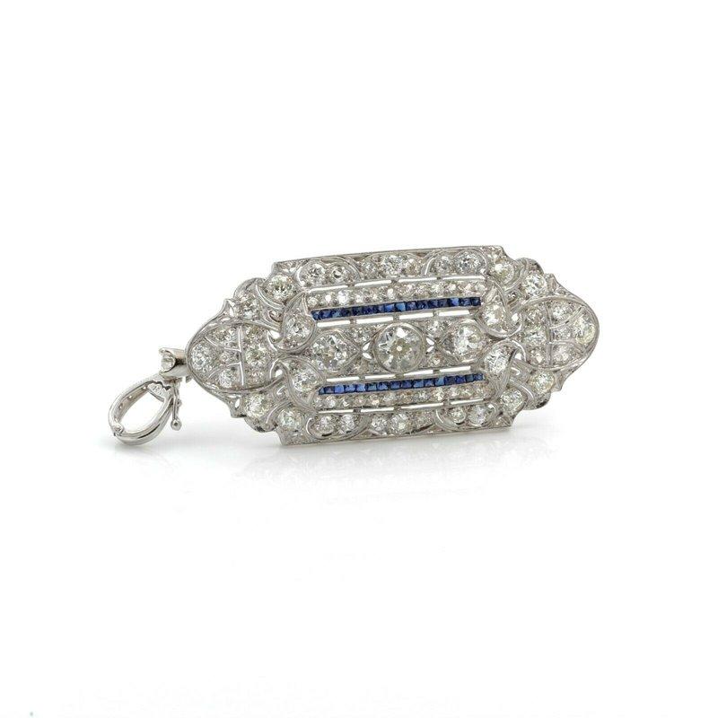 National Rarities ART DECO PLATINUM 5.0 CTW OLD EURO DIAMOND CALIBRE CUT SAPPHIRE PENDANT #E999-1