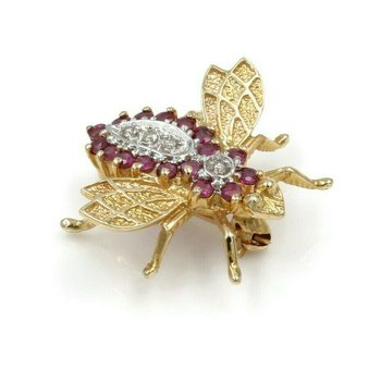 14K YELLOW GOLD .41 CTW DIAMOND & RUBY HONEYBEE PIN WHIMSICAL #973B-5