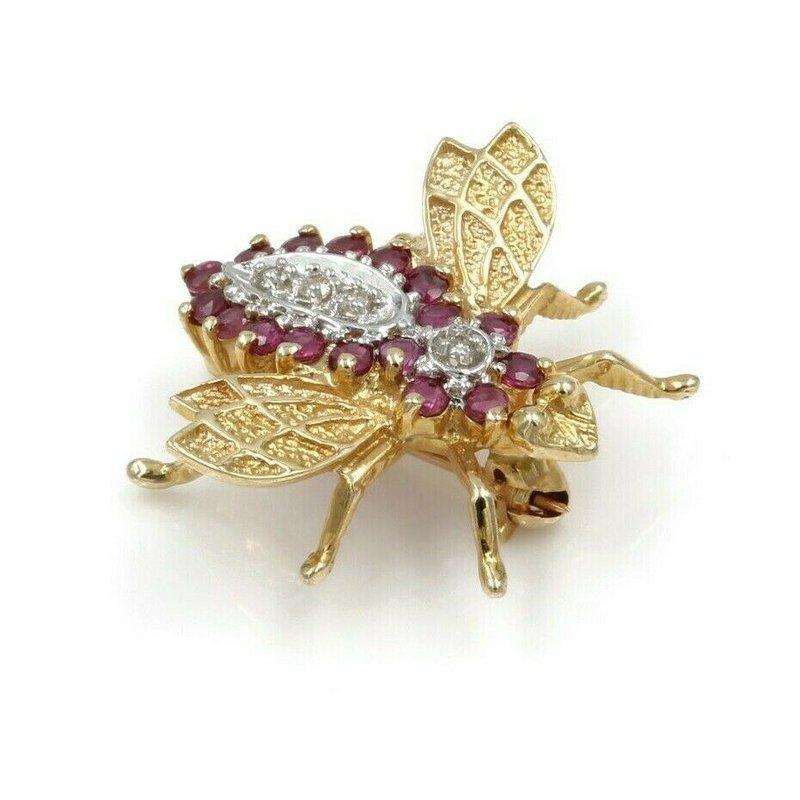 National Rarities 14K YELLOW GOLD .41 CTW DIAMOND & RUBY HONEYBEE PIN WHIMSICAL #973B-5
