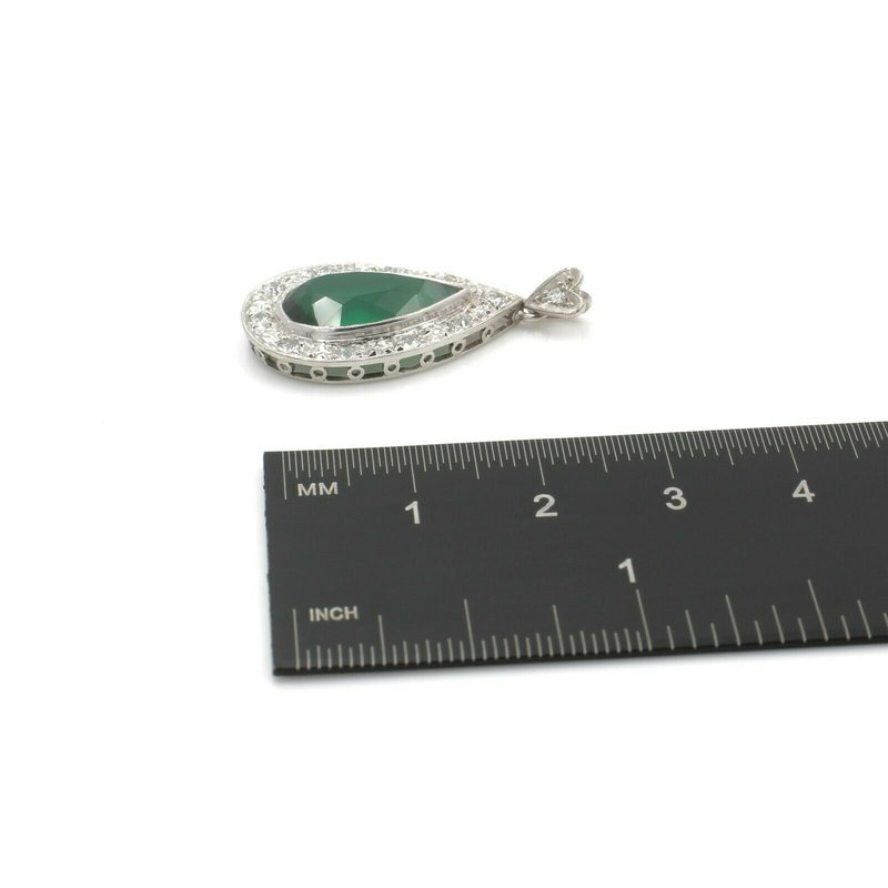 National Rarities PALLADIUM PENDANT STUNNING SYNTHETIC VIBRANT SPINEL AND ROUND DIAMONDS  #571-1