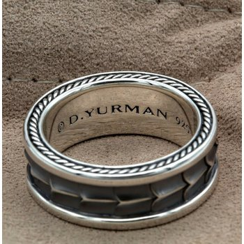DAVID YURMAN ARMORY BAND RING STERLING SILVER MENS WIDE BAND SIZE 10.25 #1031B-5