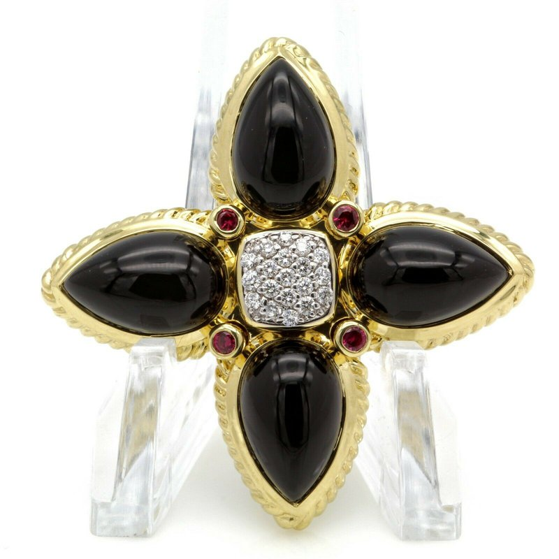 David Yurman DAVID YURMAN 18K YELLOW GOLD ONYX RUBY & PAVE DIAMOND TEARDROP ENHANCER #D2499-3