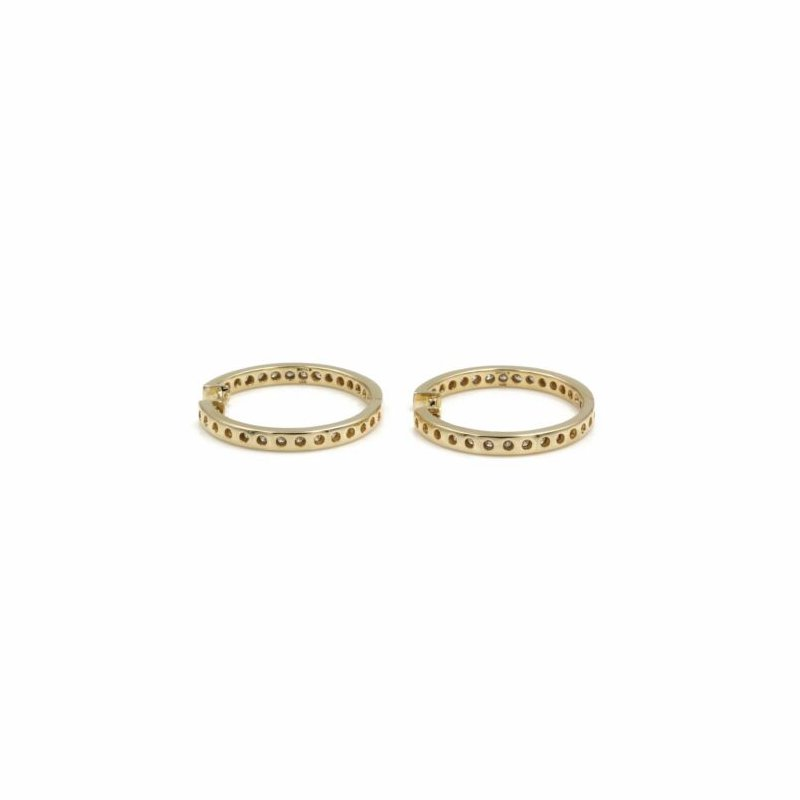 National Rarities 14K SOLID GOLD SONJA B. 1.68 CTW DIAMOND INSIDE OUT 30 MM HOOP EARRINGS #E-298