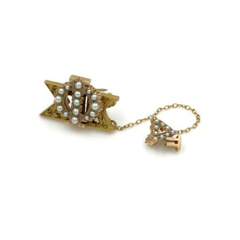 VINTAGE 10K YELLOW GOLD PHI SIGMA KAPPA -DELTA PI SEED PEARL PIN #973B-1