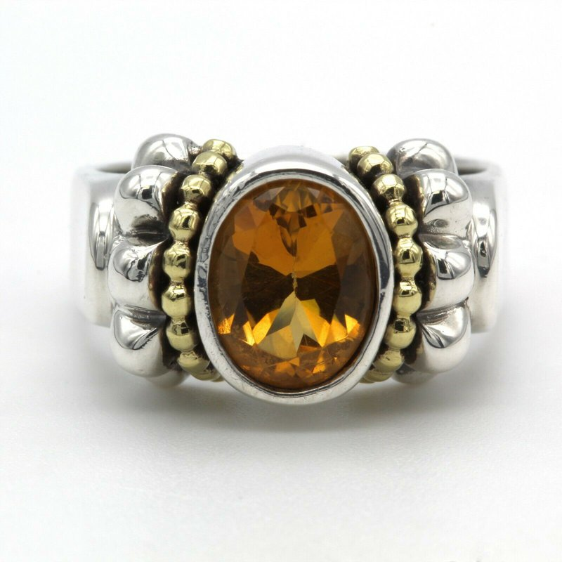 Lagos LAGOS CAVIAR STERLING SILVER AND 18K YELLOW GOLD 1.70 CTW CITRINE RING SIZE 7