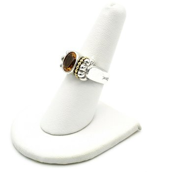 LAGOS CAVIAR STERLING SILVER AND 18K YELLOW GOLD 1.70 CTW CITRINE RING SIZE 7