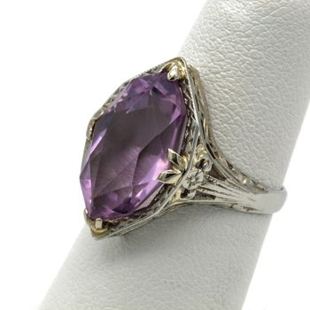 ART DECO ROSE DE FRANCE AMETHYST MARQUISE CUT 18K WHITE GOLD RING 4.61 CTW