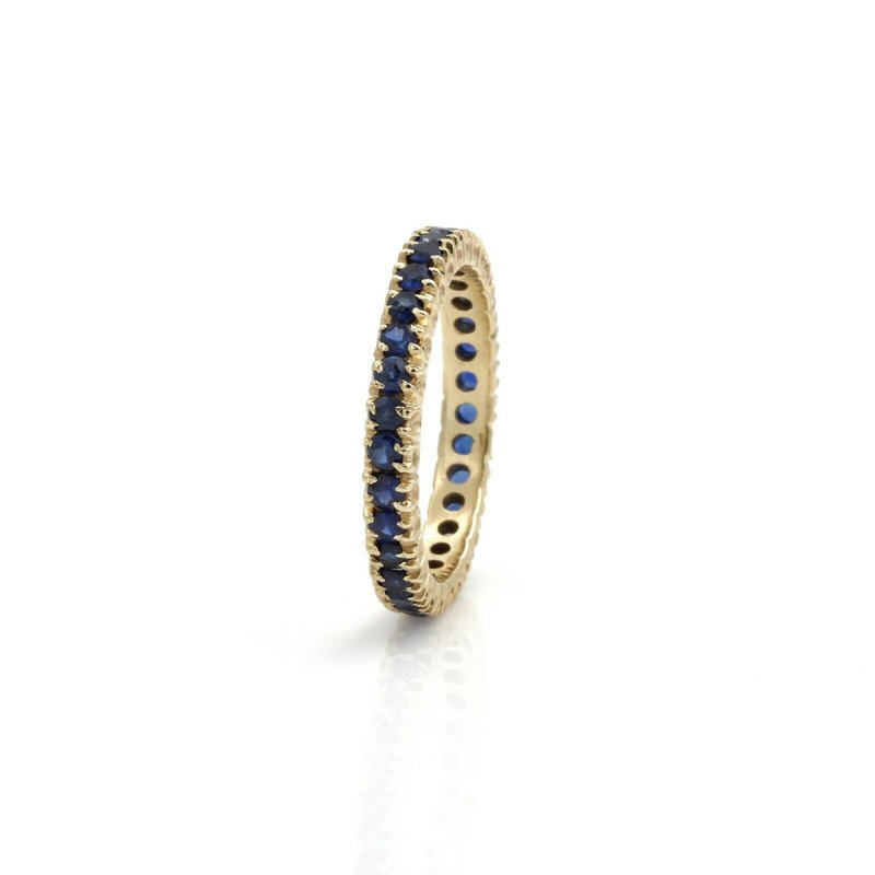 National Rarities 14K GOLD 1.4 CTW ROUND SAPPHIRE SHARED PRONG ETERNITY RING SIZE 7.25 #1101B-2