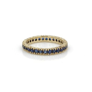 14K GOLD 1.4 CTW ROUND SAPPHIRE SHARED PRONG ETERNITY RING SIZE 7.25 #1101B-2