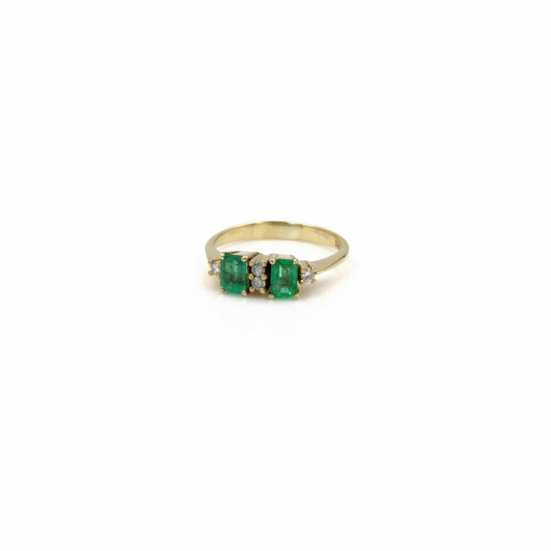 National Rarities 18K YELLOW GOLD EMERALD CUT NATURAL EMERALD AND DIAMOND COCKTAIL RING #1035B-4