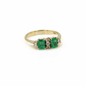 18K YELLOW GOLD EMERALD CUT NATURAL EMERALD AND DIAMOND COCKTAIL RING #1035B-4