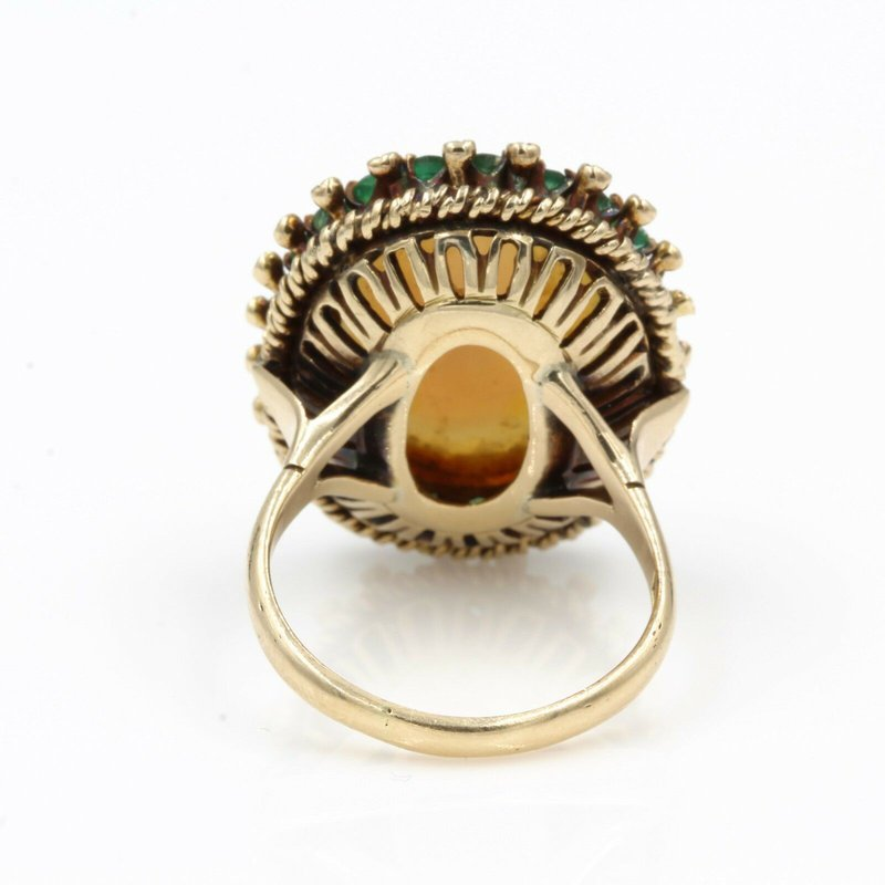 National Rarities 14K YELLOW GOLD RING WITH AN OPAL CABOCHON  SURROUNDED BY ROUND EMERALDS E-30