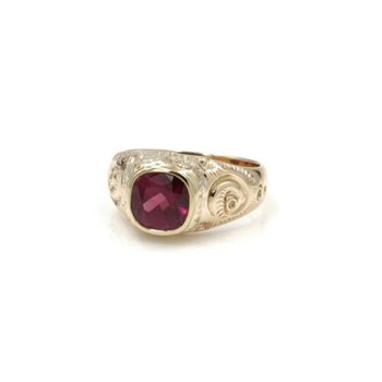 14K SOLID GOLD 2.64 CT CUSHION CUT RHODOLITE GARNET RING SIZE 7 #1036B-3
