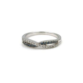 10K WHITE GOLD CROSSOVER BLUE & WHITE DIAMOND RING ROUND THIN SIZE 7.25 1034B-6