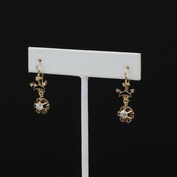 14K SOLID GOLD 0.44 CTW OLD EURO CUT DIAMOND & ENAMEL DANGLE EARRINGS #1001B-2
