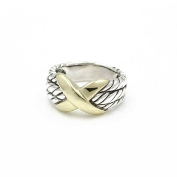 DAVID YURMAN CABLE CLASSIC CROSSOVER STERLING 14K YELLOW GOLD RING SIZE 6  D11-3