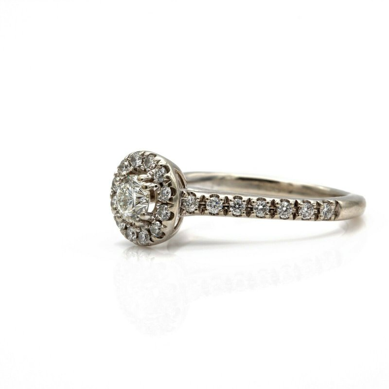 National Rarities 14K WHITE GOLD ROUND DIAMOND ENGAGEMENT RING WITH HALO CTW .49 FINE JEWELRY