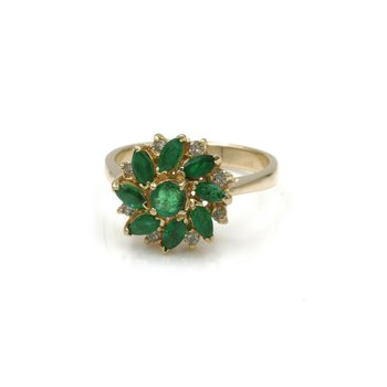 14K YELLOW GOLD 0.65 CTW EMERALD AND DIAMOND RING SIZE 6 #1004B-1