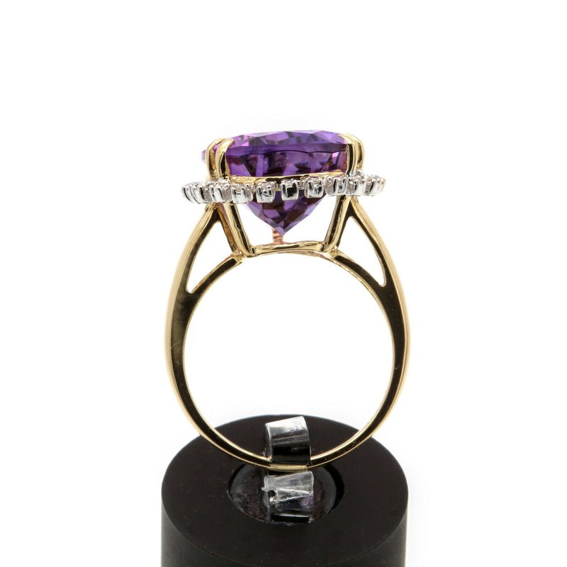 National Rarities 14K SOLID GOLD AMETHYST COCKTAIL RING PEAR DIAMOND ACCENTS 9.44CTW SZ 6 #JB7-11