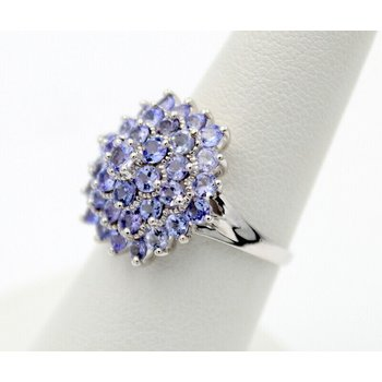 STUNNING 10K WHITE GOLD 3.00 CTW TANZANITE COCKTAIL RING SIZE 7 #790B-5
