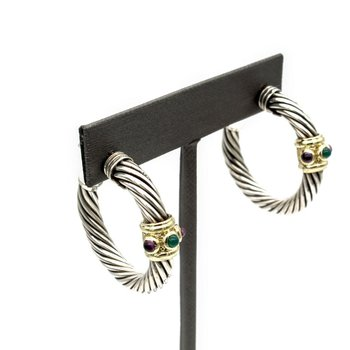 DAVID YURMAN RENAISSANCE CABLE HOOP EARRINGS AMETHYST GREEN ONYX 925 585