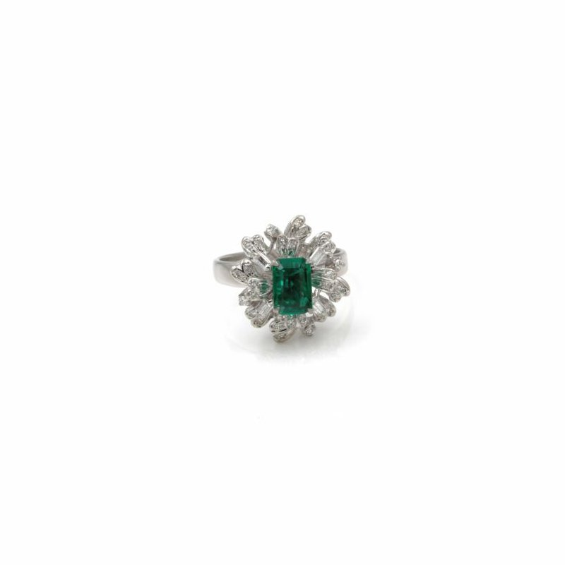 National Rarities 18K WHITE GOLD 1.53CTW EMERALD & DIAMOND CLUSTER COCKTAIL RING SIZE 6.5 #1001B-9