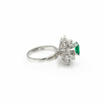 18K WHITE GOLD 1.53CTW EMERALD & DIAMOND CLUSTER COCKTAIL RING SIZE 6.5 #1001B-9