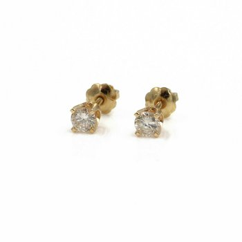 14K YELLOW GOLD DIAMOND STUD SOLITAIRE EARRINGS .34 CTW M/I2 NICE!!  #1004B-10