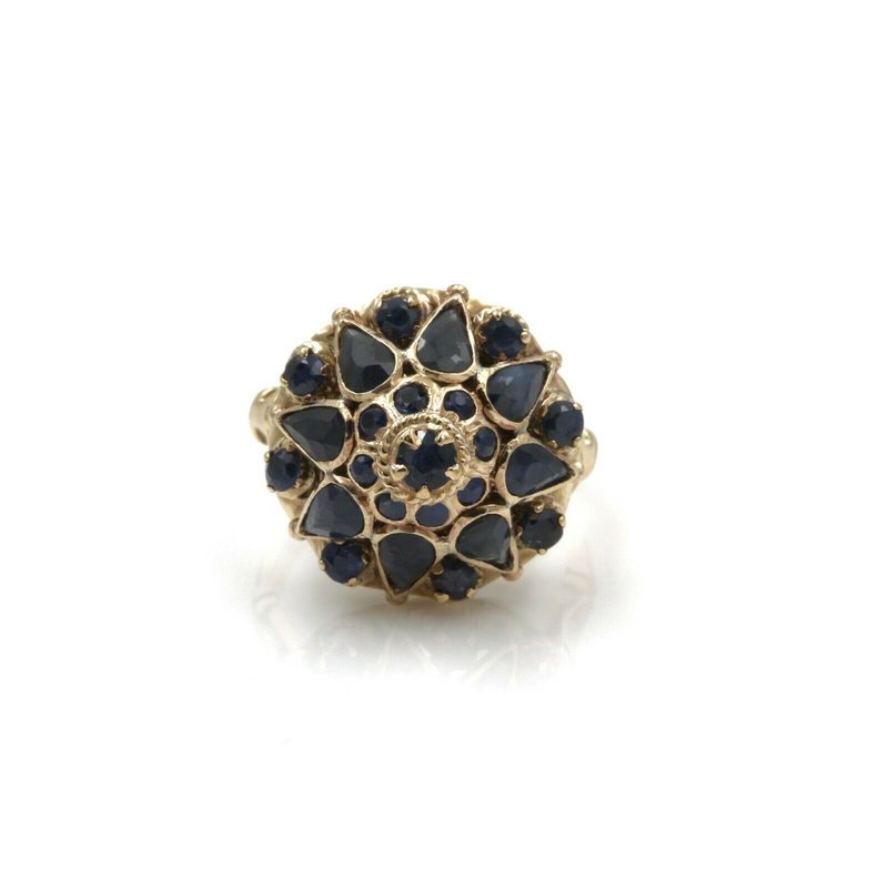 National Rarities 14K SOLID GOLD 1.09 CTW SAPPHIRE BEAUTIFUL VINTAGE HAREM RING SIZE 3 #1038B-1