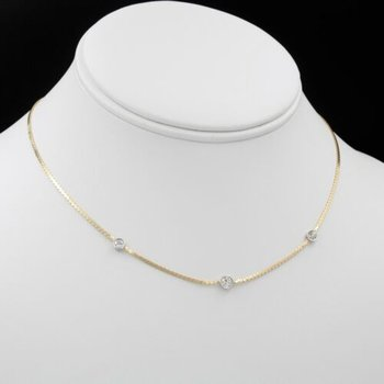"14K CLASSIC DIAMOND STATION NECKLACE DIAMOND BY THE YARD STYLE YG 14.5"" #1026B-4"