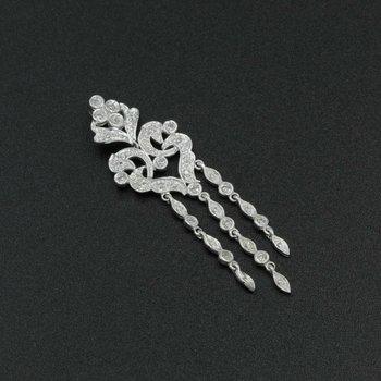 14K WHITE GOLD 0.42 CTW ROUND DIAMOND VINTAGE STYLE CHANDELIER PENDANT #1085B-6