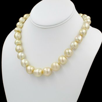 "18K YLW GOLD GOLDEN SOUTH SEA PEARL SINGLE STRAND NECKLACE BALL CLASP 18"" E-311"