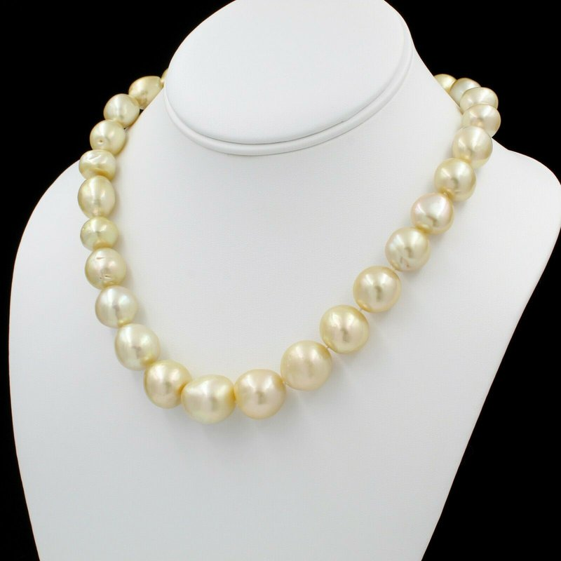 """National Rarities 18K YLW GOLD GOLDEN SOUTH SEA PEARL SINGLE STRAND NECKLACE BALL CLASP 18"""" E-311"""