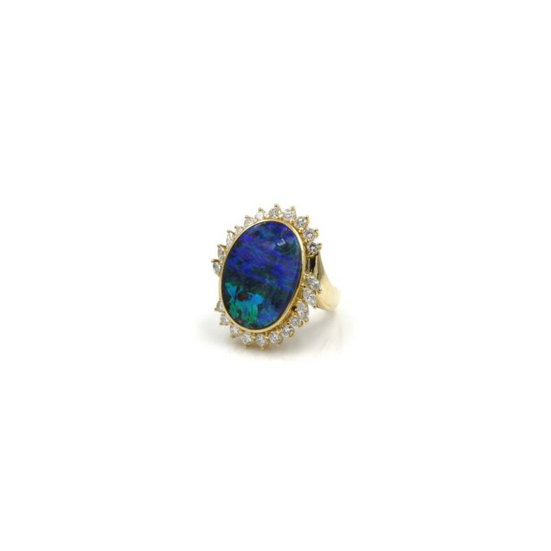 Halo 18K SOLID GOLD OVAL BOULDER OPAL & 1.02 CTW DIAMOND HALO RING SIZE 7.25 #E-295