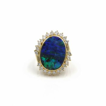 18K SOLID GOLD OVAL BOULDER OPAL & 1.02 CTW DIAMOND HALO RING SIZE 7.25 #E-295