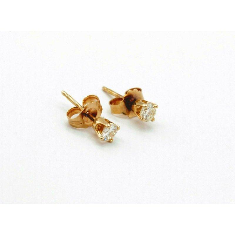 National Rarities 14K YELLOW GOLD .25 CTW ROUND DIAMOND STUD EARRINGS CLASSIC #970B