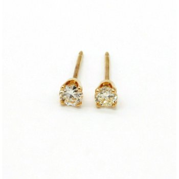 14K YELLOW GOLD .25 CTW ROUND DIAMOND STUD EARRINGS CLASSIC #970B